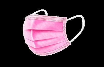 Mondmasker 3-laags met elastiek - Roze
